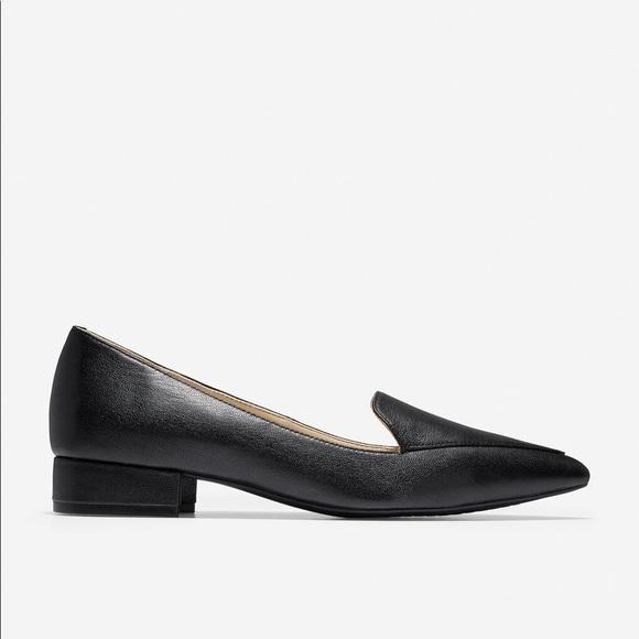 Cole Haan Black Suede Calf Hair Dellora Loafers